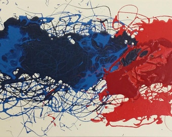 Red and Blue Abstract - 16 X 20 Acrylic on Canvas