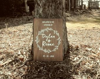 XL 90cm x 60cm | Wedding Sign, Custom Wedding Sign, Wedding Wooden Sign, Wedding Welcome Sign, Wedding Date Sign, Wedding Print, Photo Prop