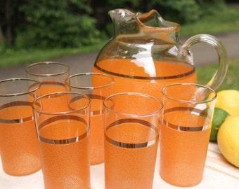 Vintage Orange Drink Pitcher and Set of 6 Glasses