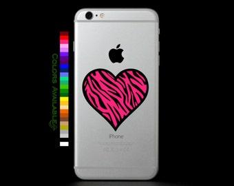 Zebra Heart Phone Decal