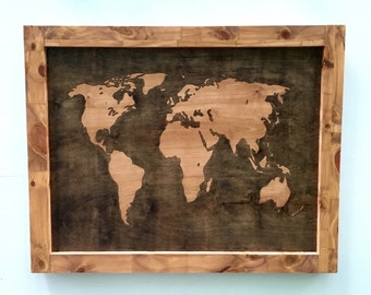 World Map Stained and Framed