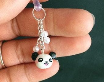 Polymer clay panda bear head cellphone headphone jack dust plug charm with pearls.