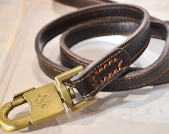 Leather Dog Leash or Lead made of Real Genuine Leather. Soft and Durable Leather with Convenient Design 4Ft