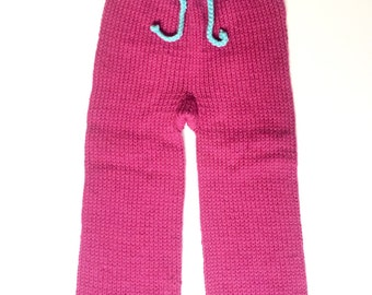 Hand knit, 100% wool longies, size medium/large