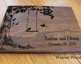 Personalized Wood Cutting Board Birds On A Swing Wedding Gift Housewarming Anniversary Gift For The Couple