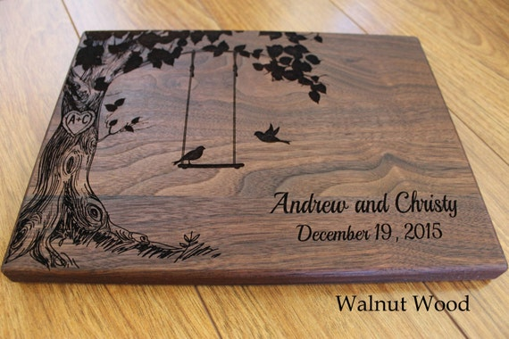 Wedding Gift Ideas Personalized: Personalized Wood Cutting Board Birds On A Swing Wedding Gift