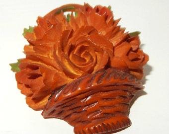 Art Deco CARVED Butterscotch Bakelite BASKET of FLOWERS Brooch