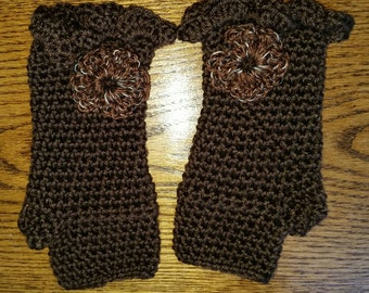 Brown hand crochet fingerless texting gloves with flower