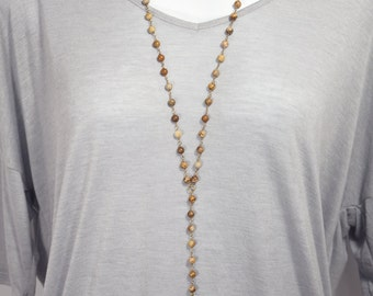 Picture Jasper with Gold Leaf Lariat Necklace