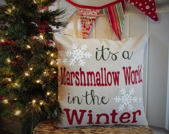 Christmas pillow cover, It's a marshmallow world in the winter, Christmas decor, Christmas pillow, 18x18