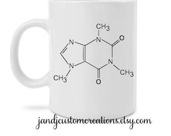 Coffee Lover Mug, Giftable Mug, Quote Mug, Caffiene Molecule