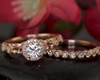 Antique Style Halo Engagement Ring with Forever Brilliant Moissanite and Bezel Set Diamond Wedding Band in Rose Gold, Ashlyn and Cadence B