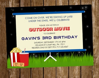 Movie Night Invitation, Outdoor movie night, birthday party, movie night birthday invitation