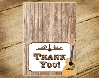 Guitar Theme / Western Birthday Party Invitation Matching Thank You Card