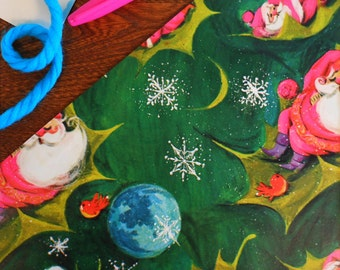Vintage Sleepy Celestial Santa Claus on Holly Leaf with Birds Snowflakes & Planets Gift Wrap Roll 2 yards