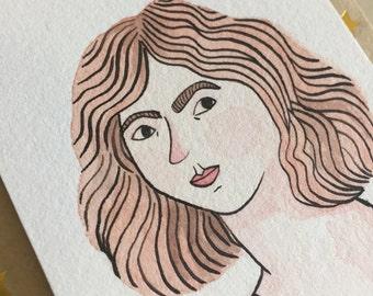 Small original illustration portrait