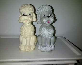 Vintage Viceroy Canada Poodle Squeak Toy Pair Gray and White