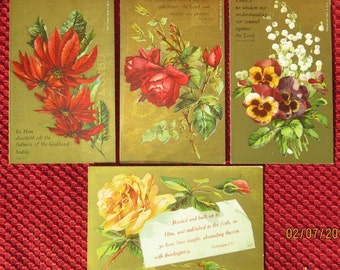 Antique Scripture Verse Post Cards Andrew' Scripture Post Card Co. Harrison Valley, PA