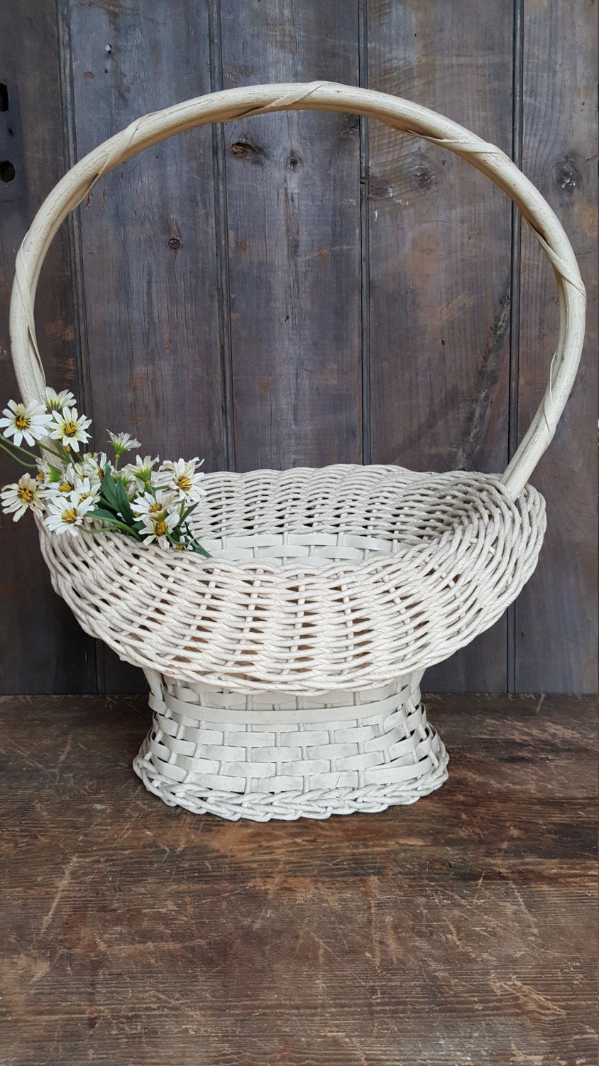 Rattan Flower Baskets : Funeral basket antique white wicker flower with handle