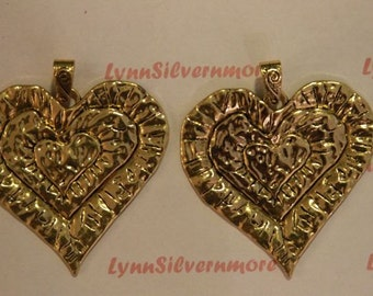 1  pcs a pkg - 68x67 mm Extra large Filigree Heart Pendant  Antique Gold Lead Free Pewter