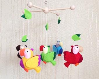 """Baby mobile """"Parrots"""", Montessori mobile, crib mobile, nursery mobile, baby room mobile, birds mobile"""