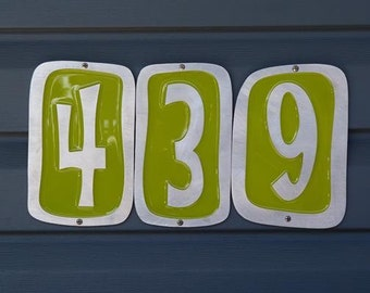 Modern House Numbers - Pixie Font in Brushed Aluminum Finish