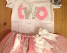 ON SALE Pink, Grey, and Silver Polka Dots Birthday Tutu Outfit