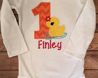 ON SALE Red, Orange, and Yellow Rubber Ducky Birthday Baby Bodysuit or Shirt