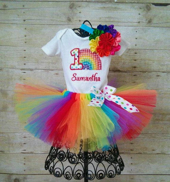 1st Birthday Rainbow Tutu Outfit