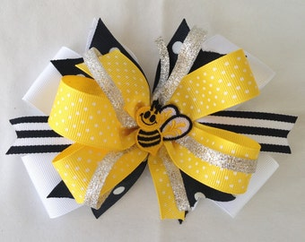 Bumblebee hair bow baby toddler big girl
