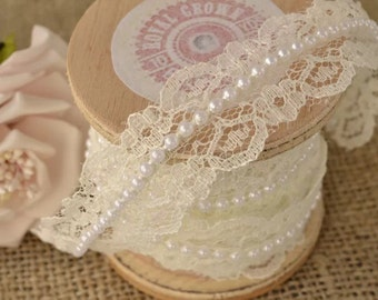 Cream Pearl and Tulle laces.