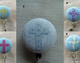 Easter Crosses Badge reels~  Retractable ID Name Badge Holder Reel