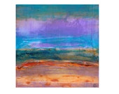 Seek the New Day, expressionist landscape painting by F. E. Clark,  acrylic on paper, colourful textural modern art unframed square lilac