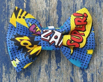 Comic Book Words Blue Bright Geek Nerdy Wedding Print Pet Bow Tie or Bow Elastic Interchangeable Collar or Harness Accessory