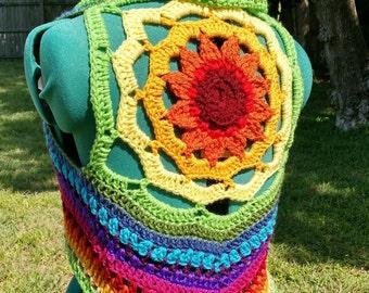 Rainbow sunflower mandala vest