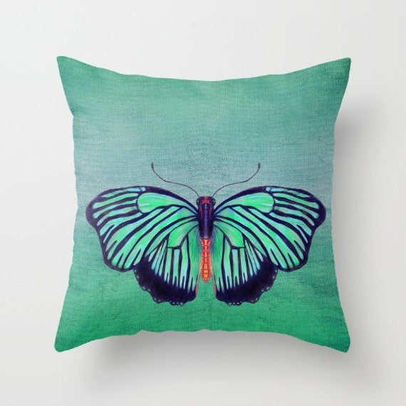 Butterfly Throw Pillow Spring Green Butterfly Artistic
