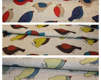 3 different styles Linen - cotton fabric with birds