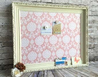 Bulletin board - framed magnetic board - shabby chic decor - message board