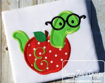 Apple with worm Appliqué Embroidery Design - school appliqué design - teacher appliqué design - bookworm appliqué design - apple appliqué