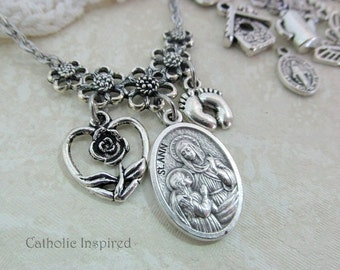 St. Ann Medal and Choose 2 charms - Saint Anne Mary Blessed Mother Mom Grandmother Homemaker Catholic Stainless Steel