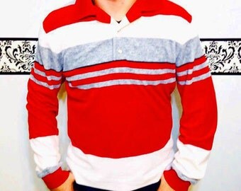 1970's Red, Grey, and Cream Striped Velour Men's Shirt, Vintage Hipster / Preppy Look 60's / 70's / 80's