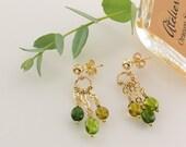 "Multicolored Vessonite ""Glorious World"" Gold Dangle Fringe Earrings – 14K Gold Filled Posts – Natural Green Vessonite – Artisan Handmade"