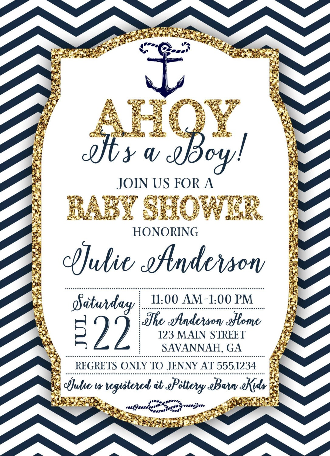 Nautical Baby Shower Invitation, Navy And Gold Nautical Invitation ...