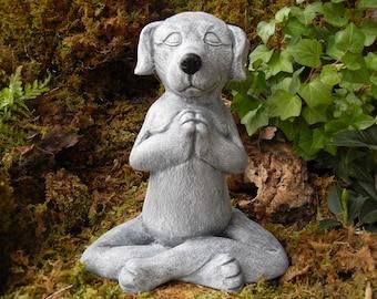 Dog Buddha,Meditating Dog Statue,Yoga Dog Statue,Buddha Dog Statue,Zen Statue,Outdoor Zen Garden Decor,CementGry