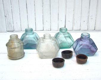 Vintage Glass Ink Bottles Set of 5 Soviet Vintage Bottles Antique Bottle Collectible home kitchen decor Flower vase Clear Glass Bottle