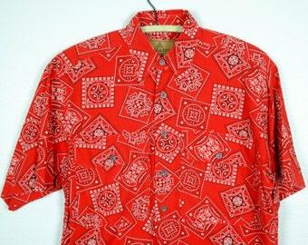 90s Red Bandana Paisley Shirt Button Down Short Sleeve S - Bandana Print Shirt S - Red Paisley Shirt S/M - Oversize Fit - Liz Claiborne S
