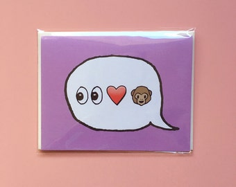 Emoji Cards! - Eye Heart Monkey
