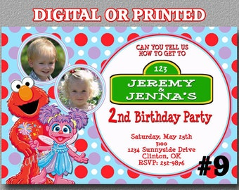 Abby Cadabby and Elmo TWINS Invitation with Photo Sesame Street Printable YOU Print Digital File or PRINTED Birthday Party Digital File