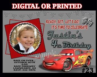 Disney Cars PRINTED Invitations YOU Print Digital File or PRINTED Cars Birthday Party Invitations Photo Invitations