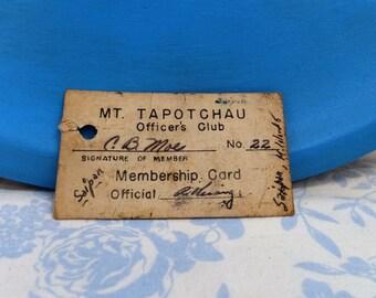 WWII Ephemera- Mt. Tapotchau Saipan Officer's Club Membership Card